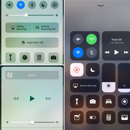 iOS 10 vs 11 - Control Center